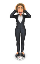 3d Business Woman Weighing Herself On Bathroom Scale