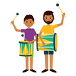 man and boy with drum