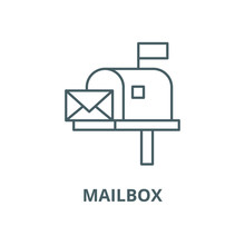 Mailbox Vector Line Icon, Outl...