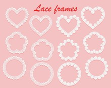 Set Of White Lace Frames Of Various Shapes. Ring, Heart And Flower. Openwork Vintage Elements Isolated On A Pink Background