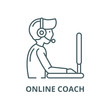 Online coach vector line icon, outline concept, linear sign