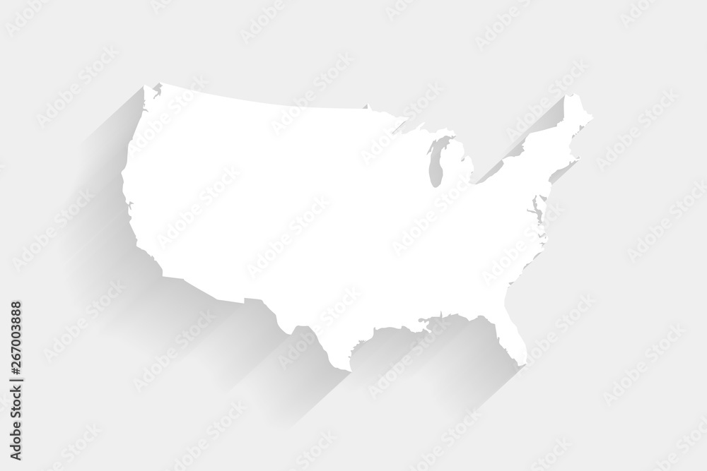 Fototapety, obrazy: Simple white United States map on gray background, vector