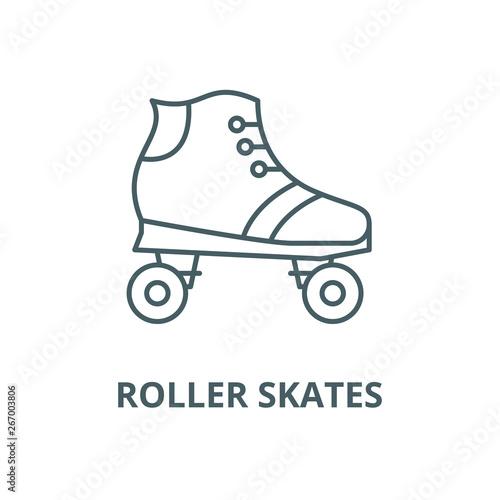 Billede på lærred Roller skates vector line icon, outline concept, linear sign