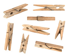 Set Of Wooden Cloth Pegs Isola...