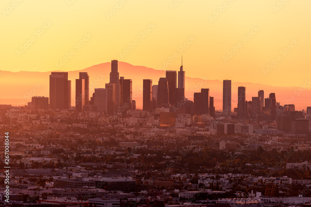 Fototapety, obrazy: Downtown Los Angeles skyline at sunrise