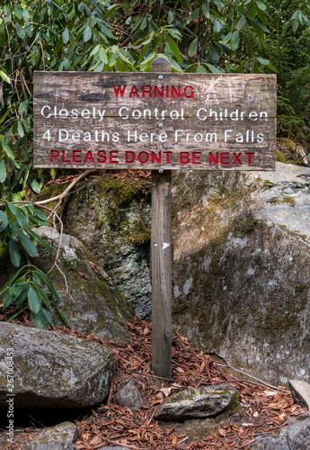 Ramsey Cascade Warning Sign Wallpaper Mural