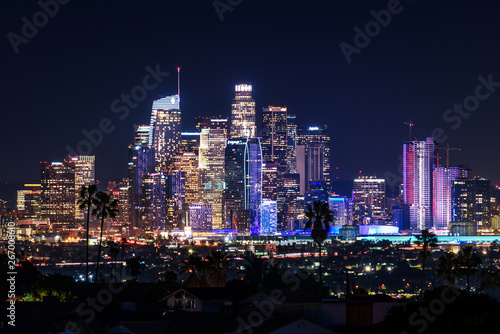 Foto  Downtown Los Angeles skyline at night