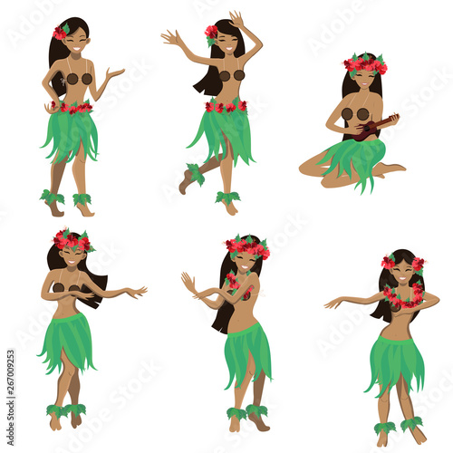 Set of girl in dance and sing with ukulele positions. Beautiful graceful Hawaiian girl dancing hula in traditional costume. Garland and green skirt wearings. Vector cartoon illustration