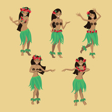 Set Girl In Dance. Beautiful Graceful Hawaiian Girl Dancing Hula In Traditional Costume. Garland And Green Skirt. Vector Cartoon Image.