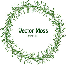 Vector Hash Chaplet - Round Isolated Vegetable Frame - Seaweed Green Concept