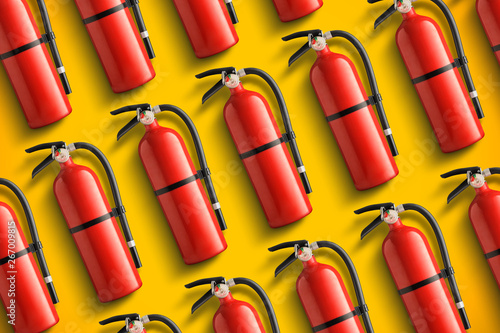Fire extinguishers pattern. Yellow background