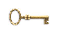 Vintage Golden Skeleton Key Isolated On White Background