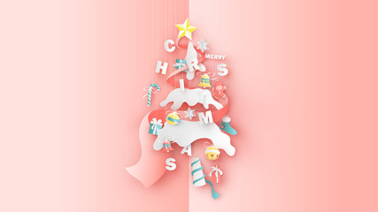 1Abstract Christmas tree decorated with Christmas ornaments hanging from the top. Graphic design for Christmas festive. paper cut and craft design. vector, illustration.