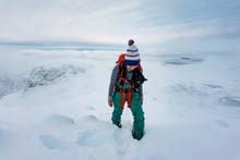 Trekking On A Snowy Mountain