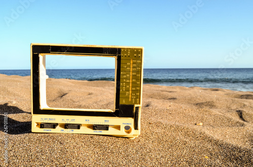 Television on the Sand Beach Canvas Print