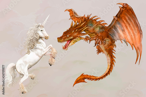 Unicorn and a dragon
