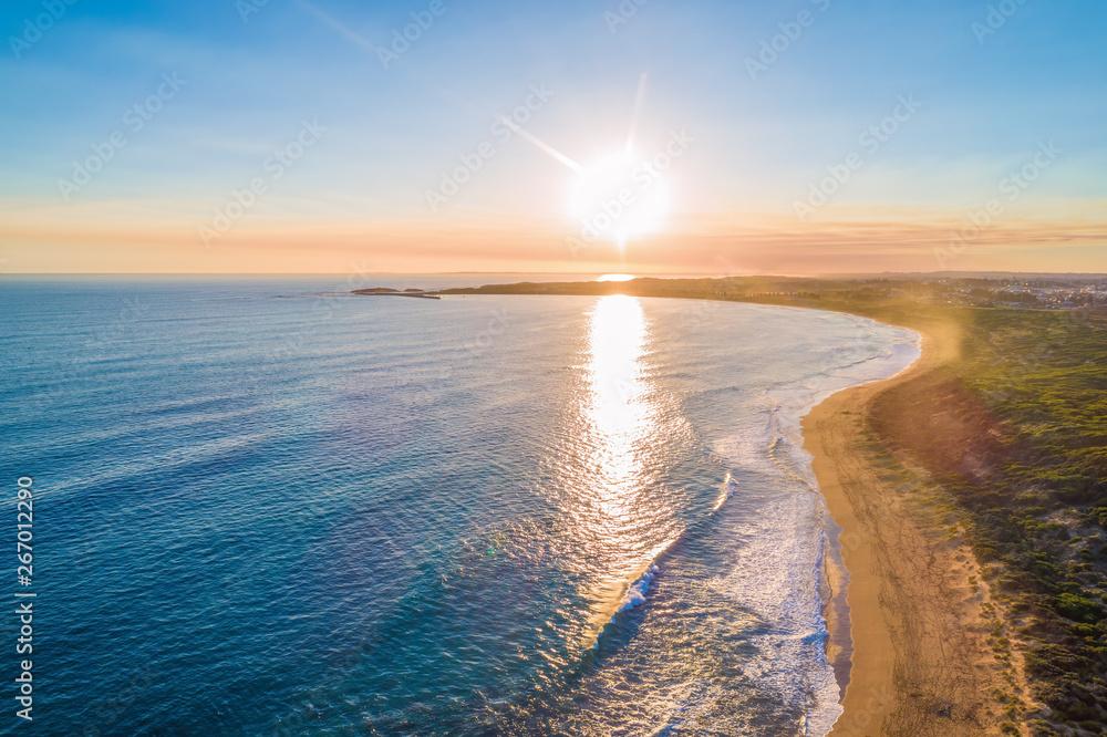 Fototapety, obrazy: Sunset over coastline - aerial view