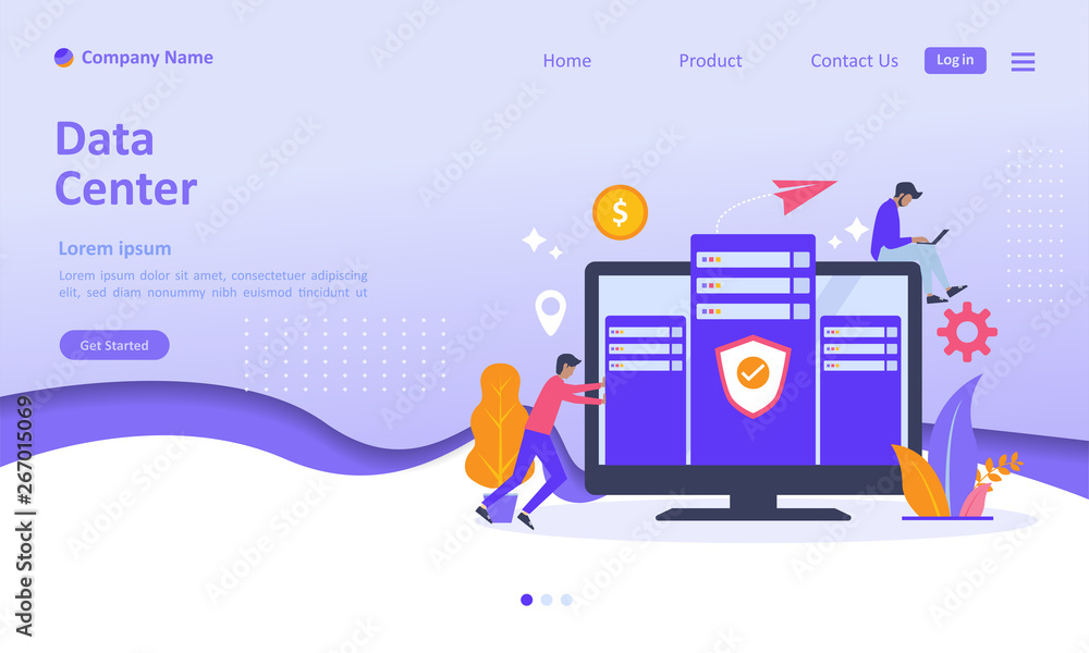 Fototapety, obrazy: Data Center concept, cloud Computer Connection to server center with people character, Suitable for web landing page, ui, mobile app, banner template. Vector Illustration