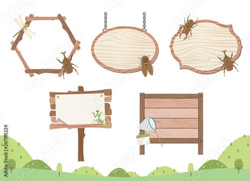 夏の昆虫の木枠フレームセット/カブトムシ、クワガタムシ、カマキリ、セミ、トンボ