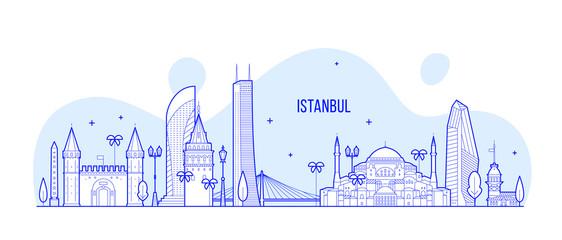 Istanbul skyline Turkey city buildings vector line