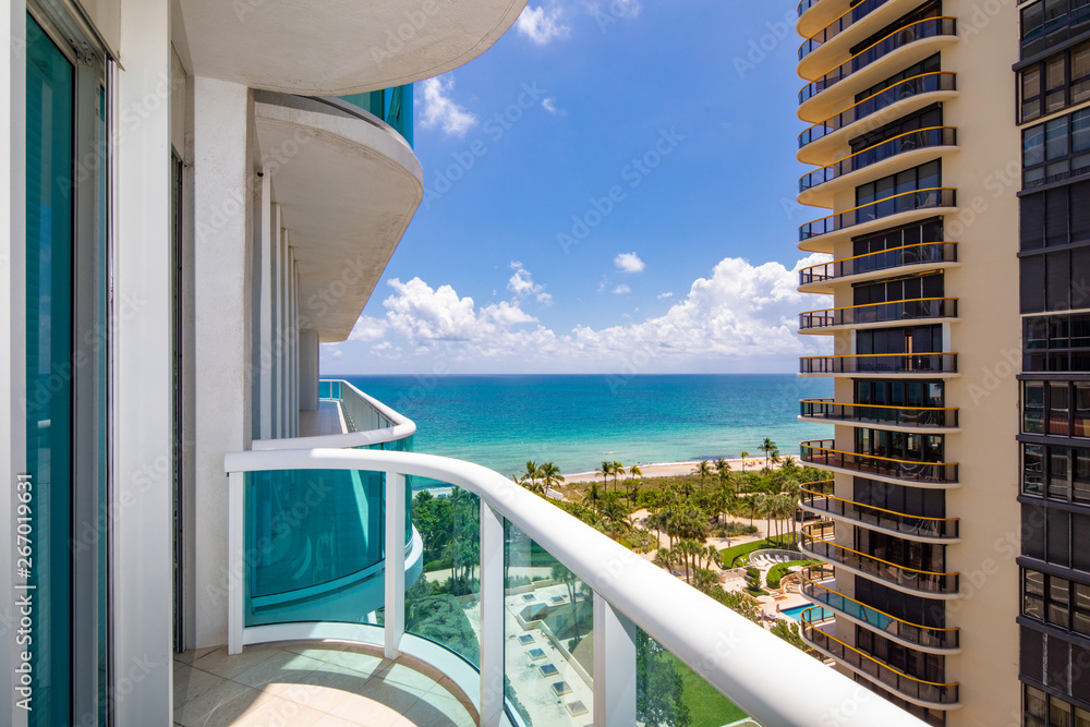 Fototapety, obrazy: Condo balcony with view of the ocean