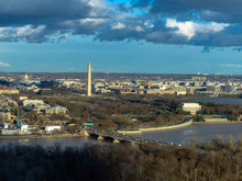 Top View Scene Of Washington DC Down Town Which Can See United States Capitol, Washington Monument, Lincoln Memorial And Thomas Jefferson Memorial, History And Culture For Travel Concept