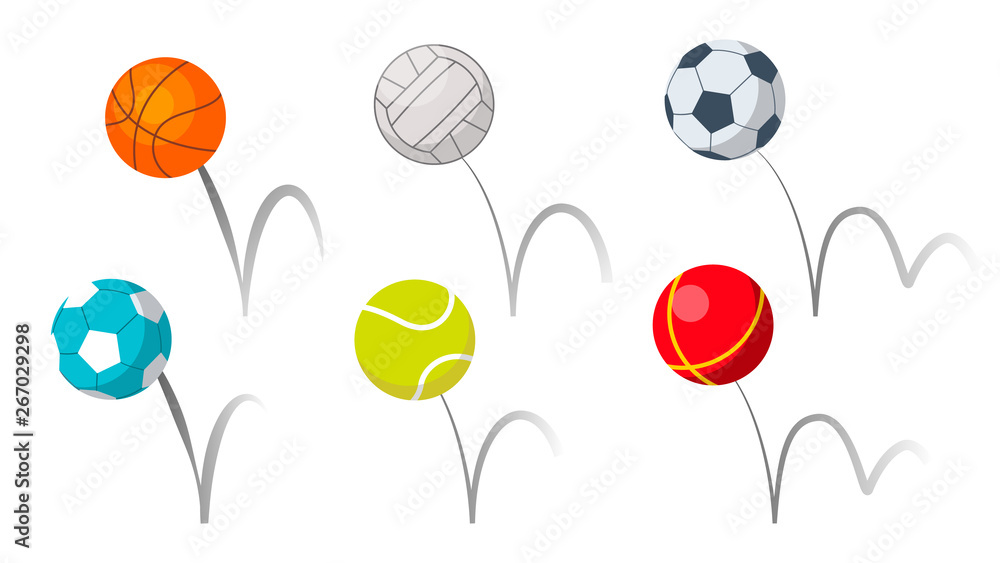 Fototapety, obrazy: Bounce Balls Sport Playing Equipment Set Vector. Basketball And Soccer Or Football, Volleyball And Tennis Game Accessories Bounce With Trajectory Grey Line. Colorful Flat Cartoon Illustration