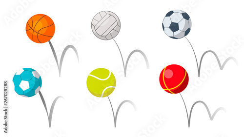 Fényképezés Bounce Balls Sport Playing Equipment Set Vector
