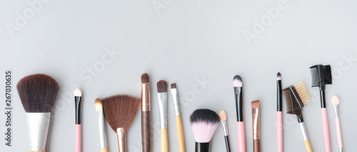 Obraz Set of makeup brushes for background - fototapety do salonu