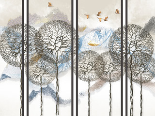 FototapetaAbstract light background, gray vertical lines, snow-capped mountains, fabulous trees and flying birds