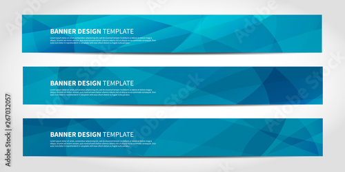 Fototapeta Vector banners with abstract geometric blue background obraz