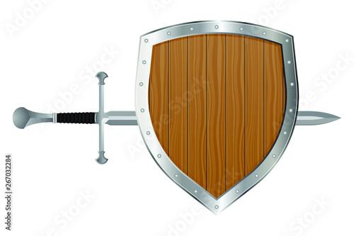 Obraz na plátně Medieval sword and shield vector illustration isolated on white background
