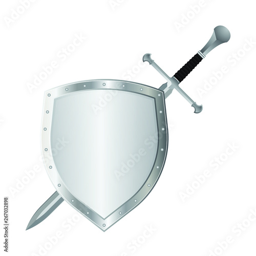 Fotografie, Obraz Medieval sword and shield vector illustration isolated on white background
