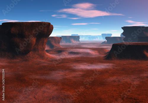 Garden Poster Brown 3D Rendered Fantasy Landscape with Sandstone Stacks - 3D Illustration
