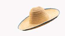 The Front View Of The Straw Hat That Cuts The Background Causes The Background To Be White.