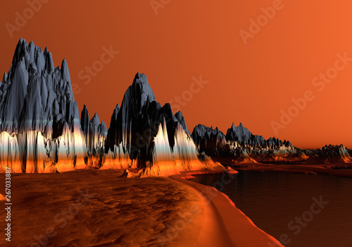 Tuinposter Baksteen 3D Rendered Red Desert Landscape - 3D Illustration