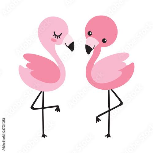 Stampa su Tela Cute baby boy and girl flamingo vector illustration