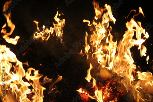 Fire sparks black background, burn effect. Canvas Print