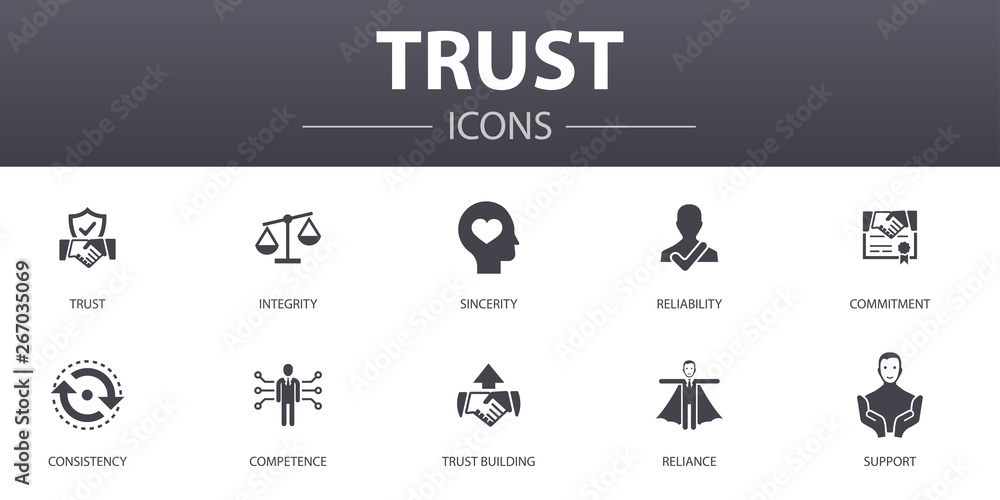 Fototapeta trust simple concept icons set. Contains such icons as integrity, sincerity, commitment, trust building and more, can be used for web, logo, UI/UX