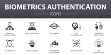 Biometrics Authentication Simple Concept Icons Set. Contains Such Icons As Facial Recognition, Face Detection, Fingerprint Identification, Palm Recognition And More, Can Be Used For Web, Logo, UI/UX