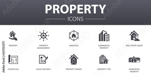 property simple concept icons set Canvas Print