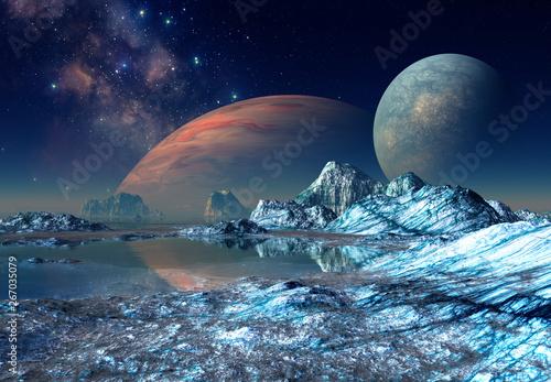 Poster Violet 3D Rendered Fantasy Alien Landscape - 3D Illustration