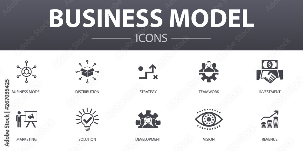 Fototapeta business model simple concept icons set. Contains such icons as strategy, teamwork, marketing, solution and more, can be used for web, logo, UI/UX