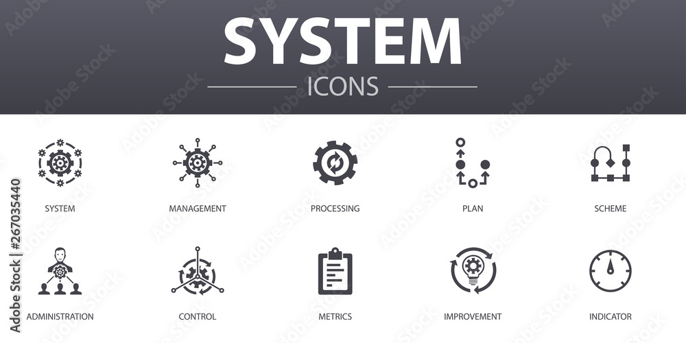 Fototapety, obrazy: system simple concept icons set. Contains such icons as management, processing, plan, scheme and more, can be used for web, logo, UI/UX