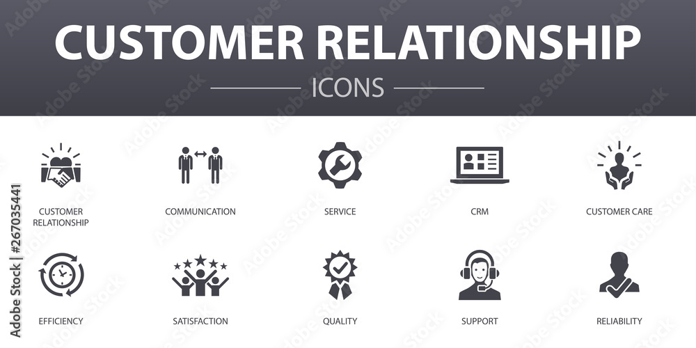 Fototapeta customer relationship simple concept icons set. Contains such icons as communication, service, CRM, customer care and more, can be used for web, logo, UI/UX