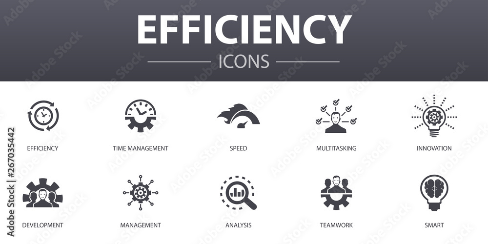 Fototapeta efficiency simple concept icons set. Contains such icons as time management, speed, multitasking, teamwork and more, can be used for web, logo, UI/UX