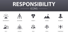Responsibility Simple Concept Icons Set. Contains Such Icons As Delegation, Honesty, Reliability, Trust And More, Can Be Used For Web, Logo, UI/UX