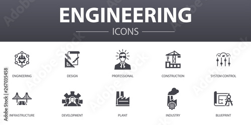 engineering simple concept icons set. Contains such icons as design, professional, System Control, Infrastructure and more, can be used for web, logo, UI/UX