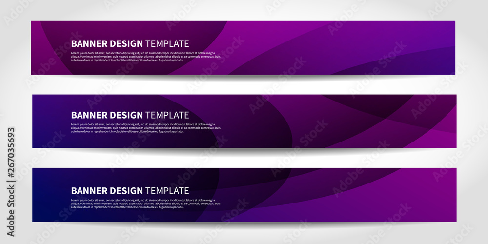 Fototapeta Vector banners with abstract geometric purple and blue background