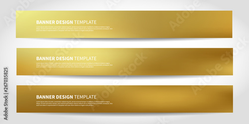 Fototapeta Vector banners with abstract gold background. Golden Website headers obraz
